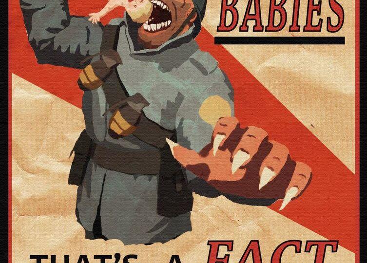 Soldiers eat babies